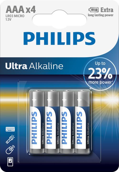 Philips AAA ExtremeLife+, alkalická - 4ks
