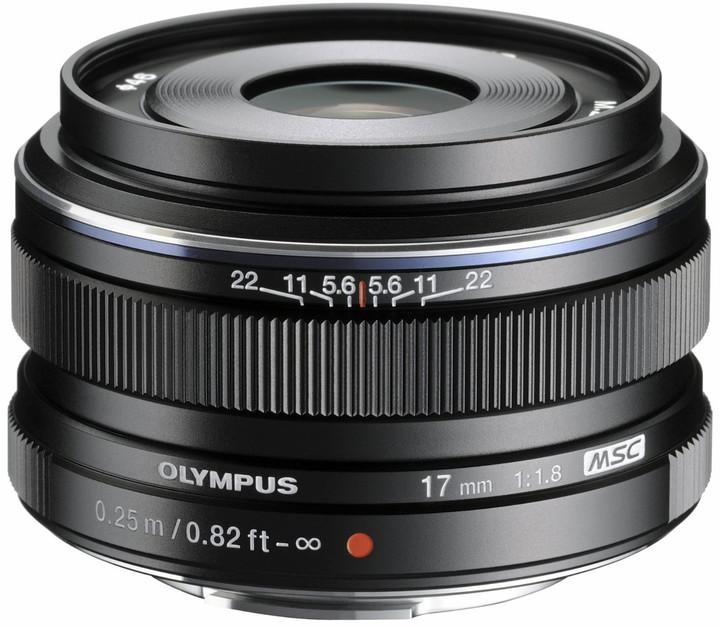 Olympus objektiv 17 mm F1.8, černá