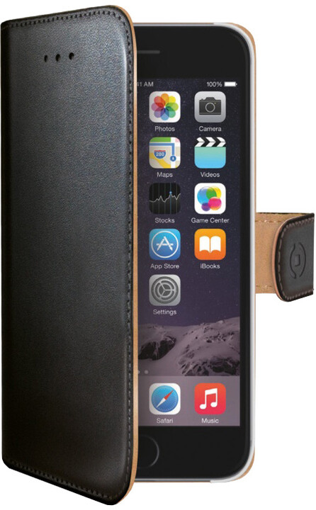 CELLY Wally pouzdro pro Apple iPhone 6/6S, PU kůže, černá