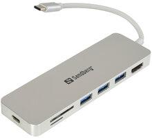 Sandberg USB-C HUB, HDMI+SD+USB+USB-C, stříbrná - 136-11