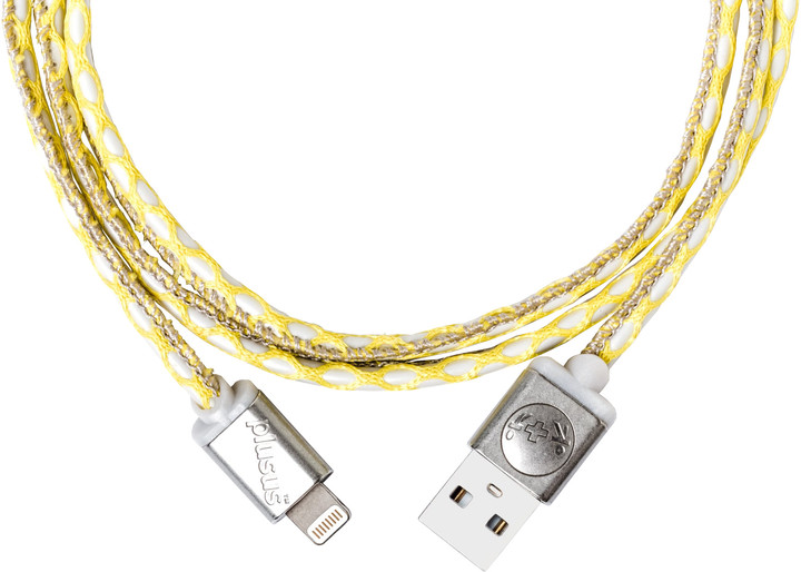 PlusUs LifeStar Premium Handcrafted (USB) nabíjecí Lightning kabel (1m) - Yellow / Dark Grey