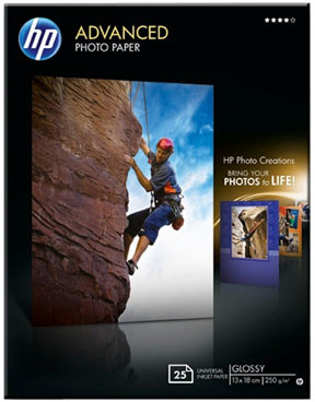 HP foto papír Advanced Glossy Q8696A, 13x18, 25 ks, 250g/m2, lesklý
