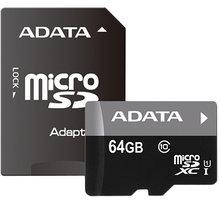 ADATA Micro SDXC Premier 64GB UHS-I + SD adaptér - AUSDX64GUICL10 85-RA1