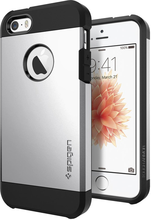 Spigen Tough Armor silver kryt pro iPhone SE/5s/5