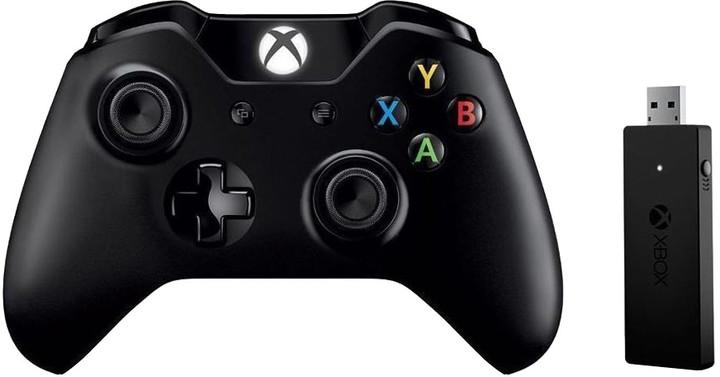 Xbox ONE S Bezdrátový ovladač, černý + bezdrátový adaptér pro Win 10 (PC, Xbox ONE)