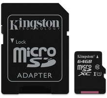Kingston Micro SDXC 64GB Class 10 + adaptér