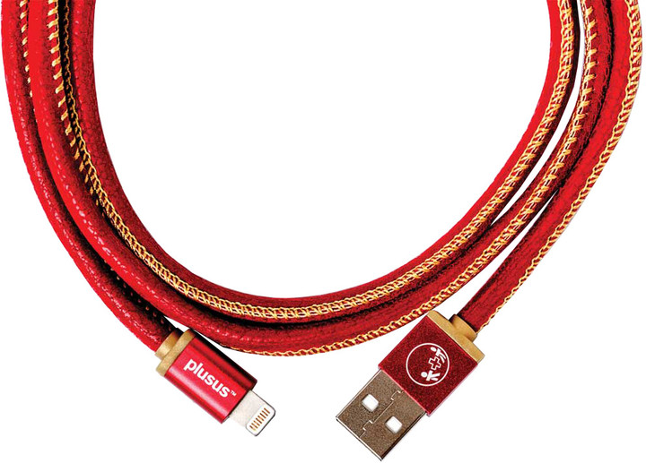 PlusUs LifeStar Handcrafted USB Charge & Sync cable (1m) Lightning - Red /Yellow