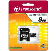 Transcend Micro SDHC 8GB Class 4 + adaptér - TS8GUSDHC4