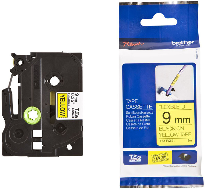 Brother TZ-FX621, žlutá / černá, 9 mm