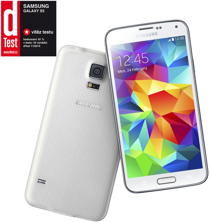 Samsung GALAXY S5, Shimmery White  + Zdarma GSM ochranné sklo na displej pro Samsung Galaxy S5 (v ceně 299,-)