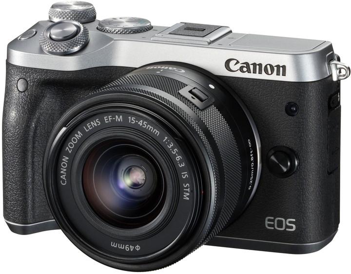 Canon EOS M6 + EF-M 15-45mm IS STM + EF-M 55-200mm IS STM, stříbrná
