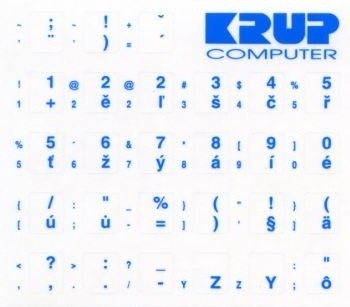 české přelepky na klávesnici - modrá