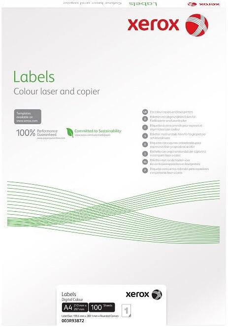 Xerox bílé samolepicí štítky pro černobílý tisk - ostré rohy, A4, 100ks, 24UP 70x37