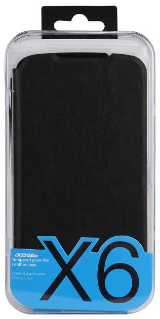DooGee X6/X6 PRO Flip Case + Screen Protector Glass, černá