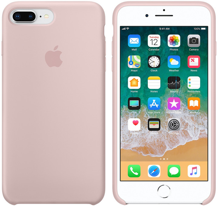 Apple silikonový kryt na iPhone 8 Plus / 7 Plus, pískově růžová