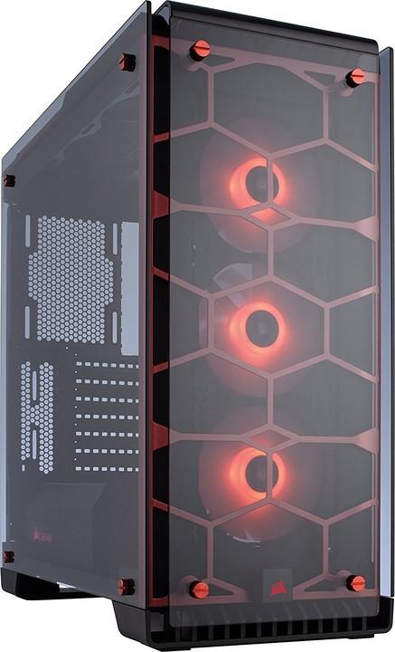 Corsair Crystal Series 570X RGB, Tempered Glass, červená