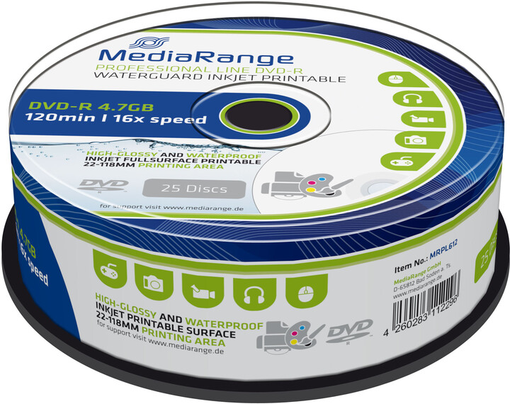 MediaRange DVD-R 4,7GB 16x, Printable, Waterguard Photo Spindle 25ks