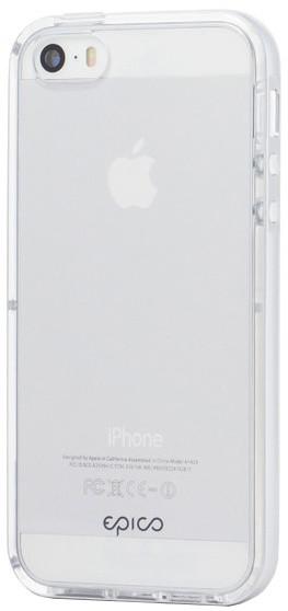 EPICO pružný plastový kryt s rámečkem pro iPhone 5/5S/SE EPICO GUARD- stříbrný