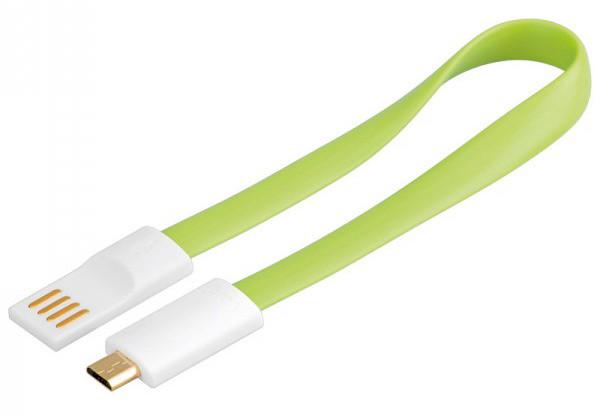 PremiumCord USB, A-B micro, magnetický, zelená - 0,2 m