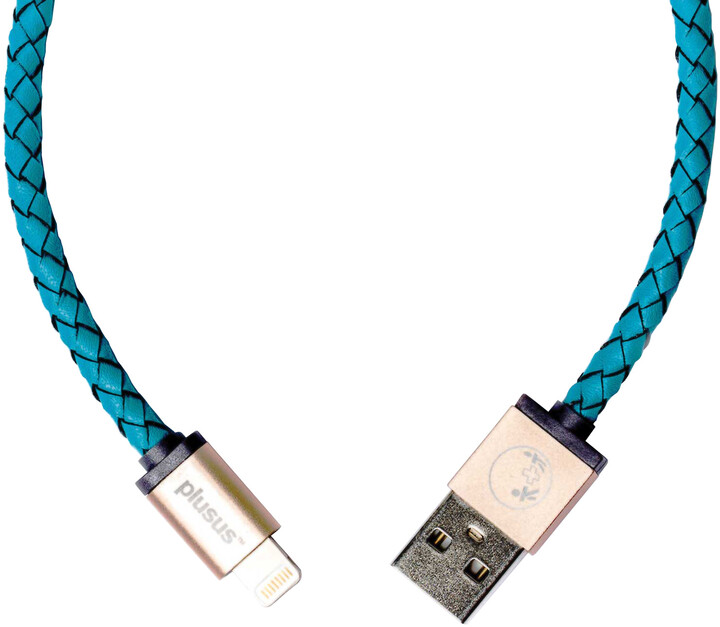 PlusUs LifeStar Handcrafted USB Charge & Sync cable (1m) Lightning - Turquoise / Light Gold