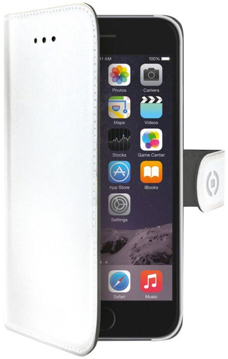 CELLY Wally pouzdro typu kniha pro Apple iPhone 6/6S, PU kůže, bílá