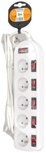 Solight prodlužovací přívod, 5 zásuvek, bílý, 6x vypínač, 3m