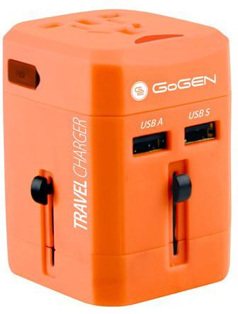 GoGEN cestovní adaptér pro 150 zemí, 2x USB, červená