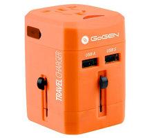 GoGEN cestovní adaptér pro 150 zemí, 2x USB, červená - GOGTC163WORLDR