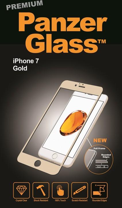 PanzerGlass ochranné sklo PREMIUM na displej pro Apple iPhone 7, zlatá