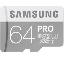 Samsung Micro SDXC PRO 64GB UHS-I U3 + SD adaptér - MB-MG64EA/EU