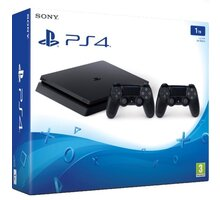 PlayStation 4 Slim, 1TB, černá + 2x DualShock 4 v2 - PS719893653