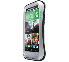 Love Mei Case HTC M8 Three anti protective shell, silver-black - LMC/0006