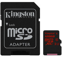 Kingston Micro SDXC 128GB Class 10 UHS-I U3 + SD adaptér - SDCA3/128GB