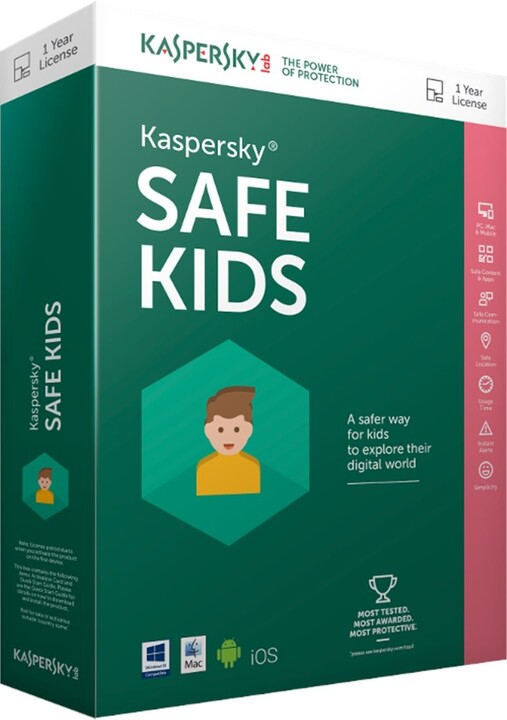 Kaspersky Internet Safe Kids EN, 1x mobil/tablet, 12 měsíců, nová licence