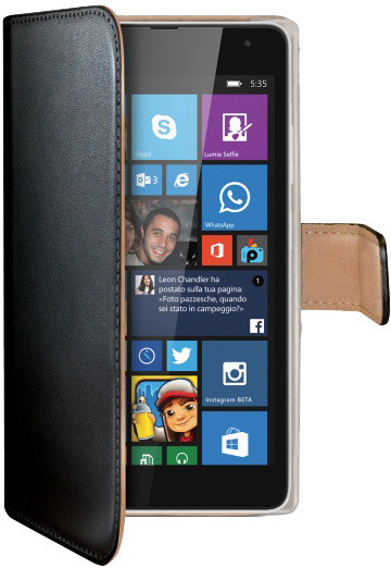 CELLY Wally pouzdro pro Microsoft (Nokia) Lumia 535, PU kůže, černá