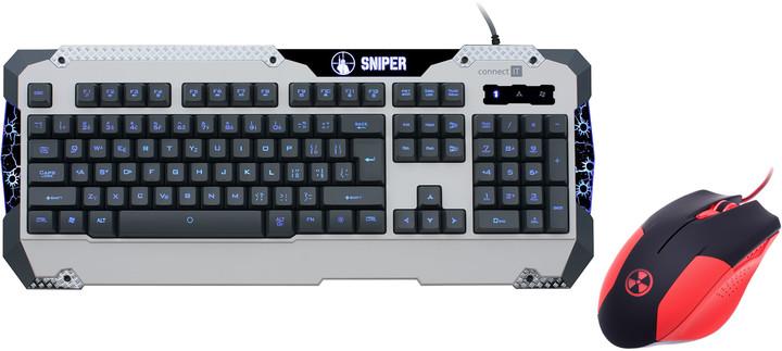 CONNECT IT CI-217 Sniper, bílá + myš Battle V2, červená