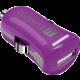 CONNECT IT InCarz COLORZ auto adaptér 1xUSB 2,1A, fialová (V2)