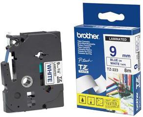Brother - TZE-223, bílá/modrá (9mm)