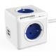PowerCube EXTENDED USB prodlužovací přívod 1,5m - 4 zásuvka, modrá