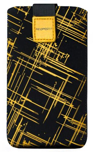 FIXED Velvet, pouzdro mikroplyš, motiv Yellow Stripes, velikost XXL
