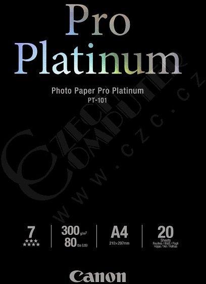Canon Foto papír Pro Platinum PT-101, A4, 20 ks, 300g/m2, lesklý