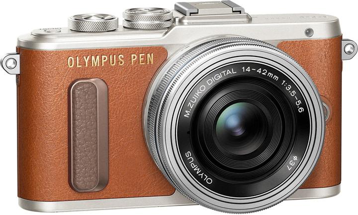 Olympus E-PL8 tělo + 14-42mm, hnědá/stříbrná