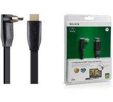 Belkin HDMI/HDMI HighSpeed 3D s Ethernetem, boční 90°, zlacený, 2m - F3Y022bf2M