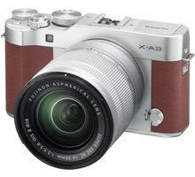 Fujifilm X-A3 + XC 16-50mm, stříbrná/hnědá - 16531702