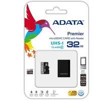 ADATA Micro SDHC Premier 32GB UHS-I + USB čtečka - AUSDH32GUICL10-RM3BKBL