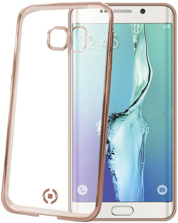 CELLY pouzdro Laser, lemování s kovovým efektem pro Samsung Galaxy S6 Edge Plus, TPU - zlatá