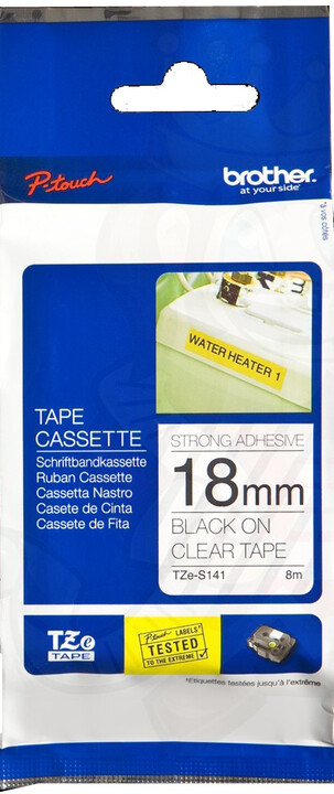 Brother TZE-S141, průsvitná / černá, 18mm