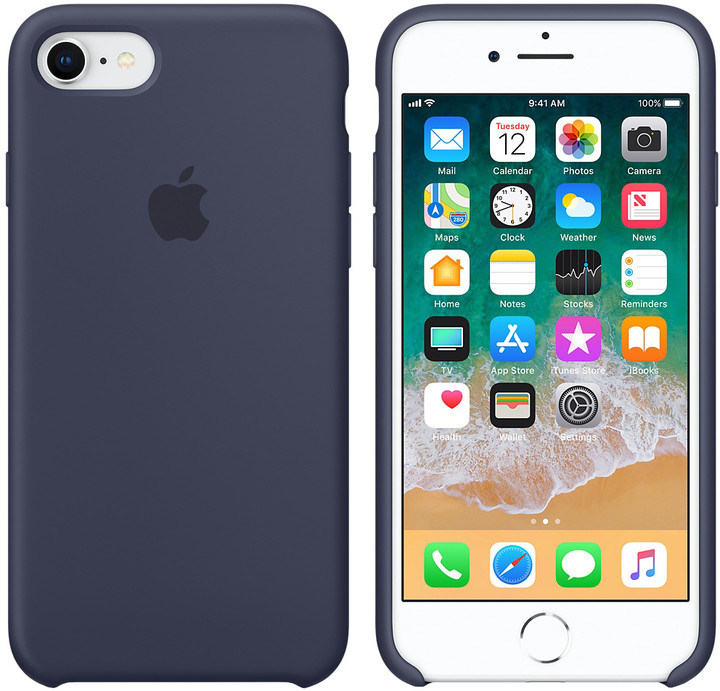 Apple silikonový kryt na iPhone 8/7, půlnočně modrá