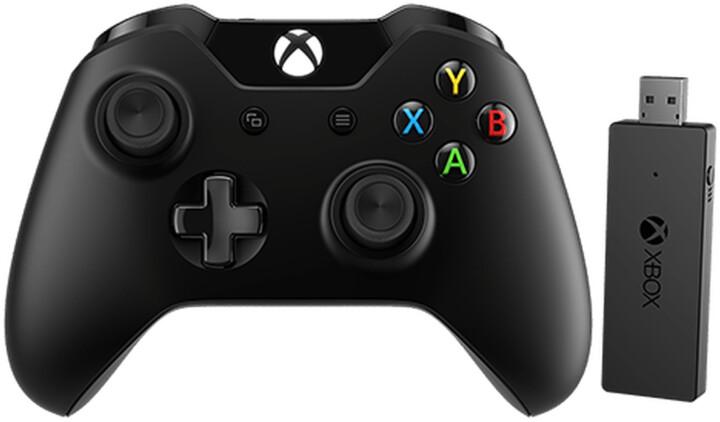 Xbox ONE Bezdrátový ovladač, černý + bezdrátový adaptér pro Win 10 (PC, Xbox ONE)