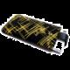 FIXED Velvet pouzdro, mikroplyš, motiv Yellow Stripes, velikost XL